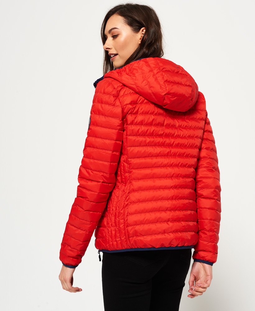 on sale ad0c4 f2a16 Details about New Womens Superdry Core Down Hooded Jacket Red