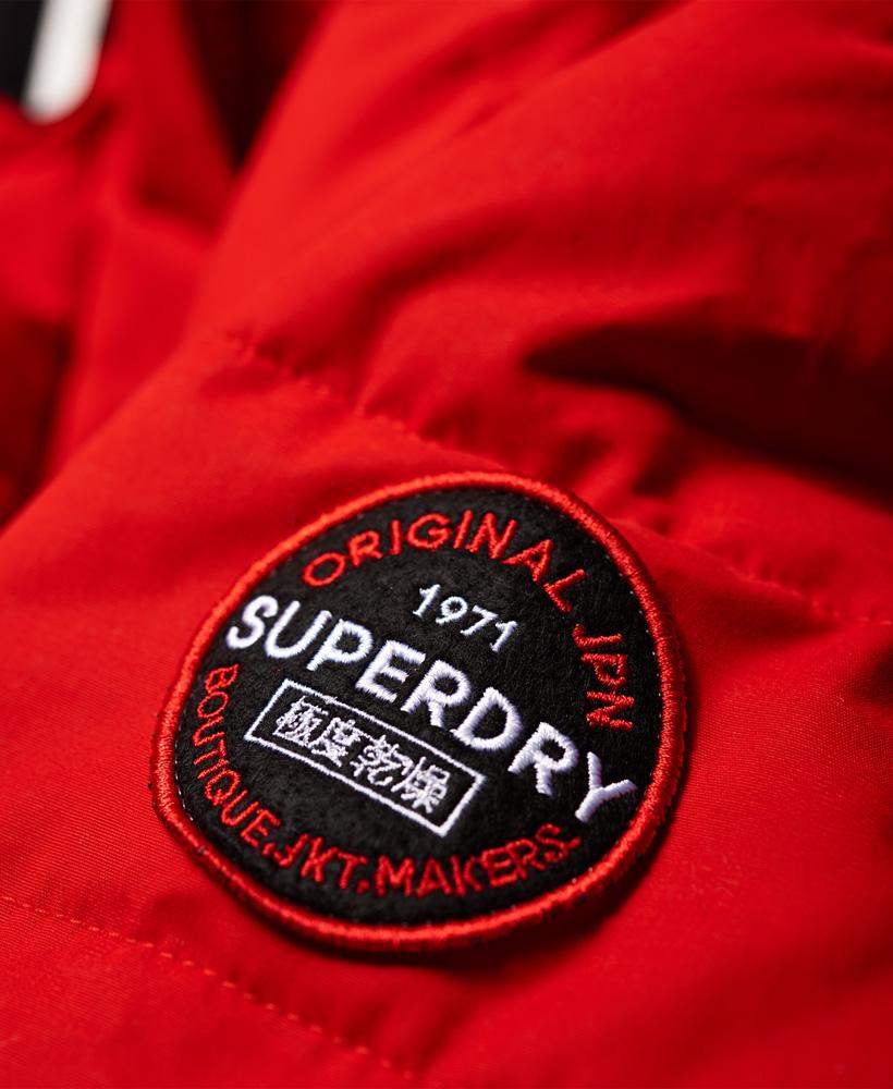 Details zu Neue Damen Superdry Mikrofaser Steppjacke mit Knebelknöpfen Avant Rot