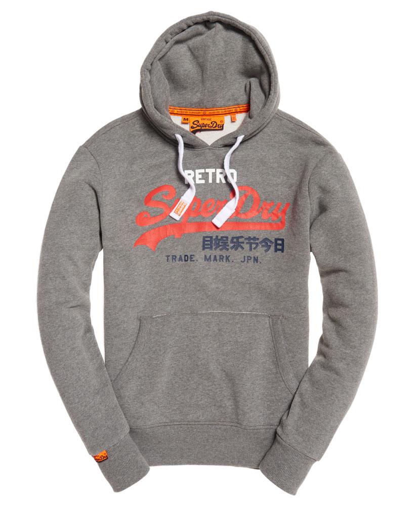 neuer herren superdry vintage logo retro hoodie dark meliert ebay. Black Bedroom Furniture Sets. Home Design Ideas