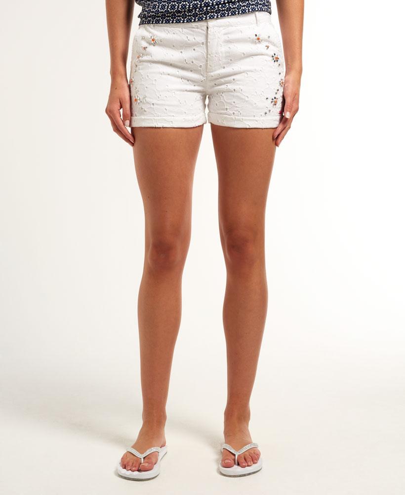 New Womens Superdry Summer Bling Hot Shorts Optic