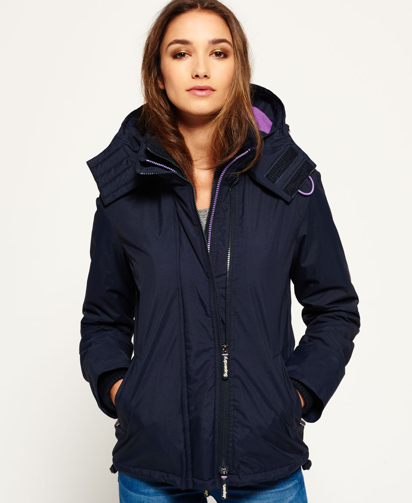 French Navy de Detalles Chaqueta SD Superdry Mujer Windcheater capuchaArctic con vy7f6gbY