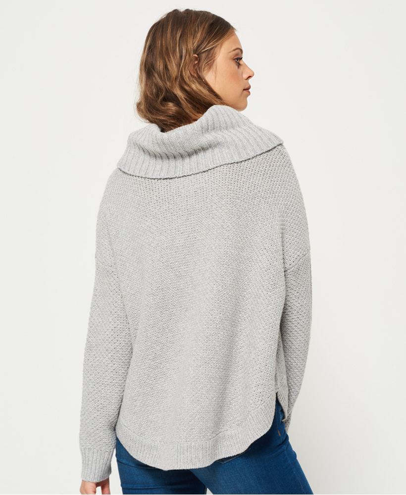 4147075b3 New Womens Superdry Lia Cable Cowl Neck Jumper Grey Marl