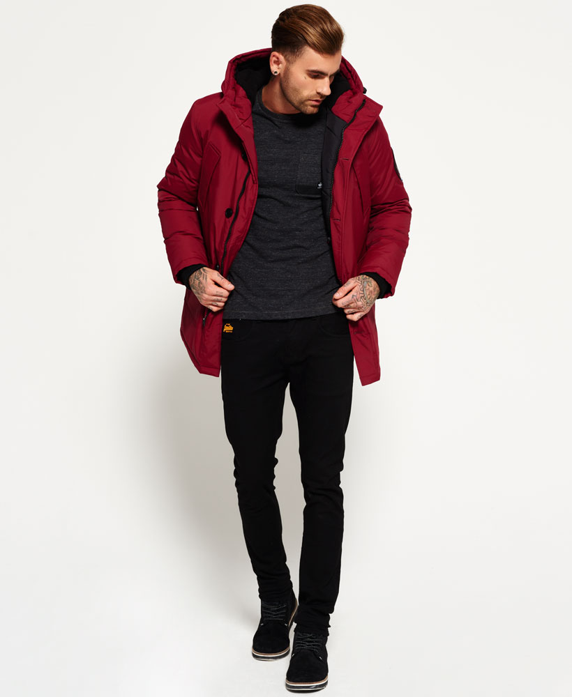 New Mens Superdry Everest Parka Jacket Wine Red | eBay