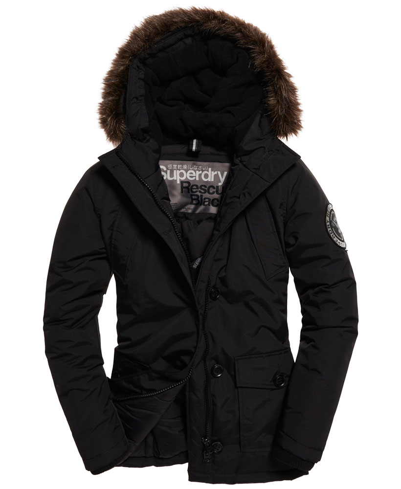 neue damen superdry everest parka schwarz ebay. Black Bedroom Furniture Sets. Home Design Ideas