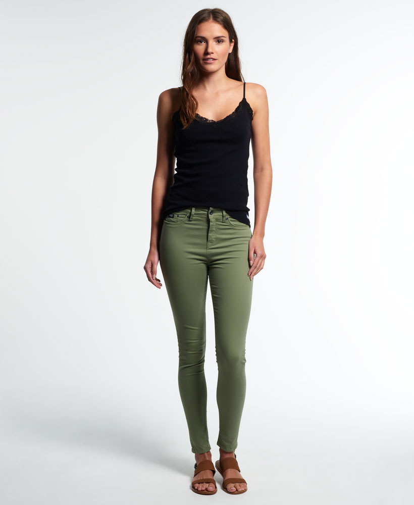 New Womens Superdry Sophia High Waist Super Skinny Jeans Khaki | eBay