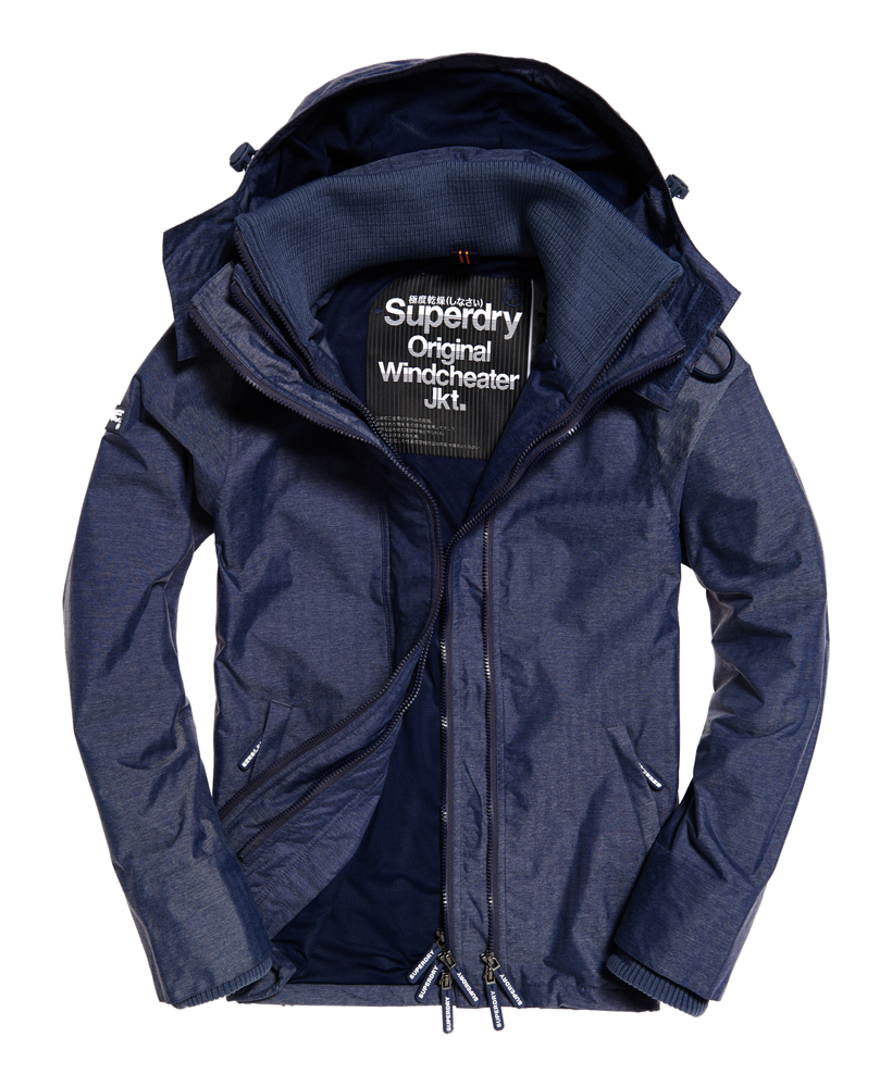 neue herren superdry pop zip hooded windcheater jacke navy. Black Bedroom Furniture Sets. Home Design Ideas