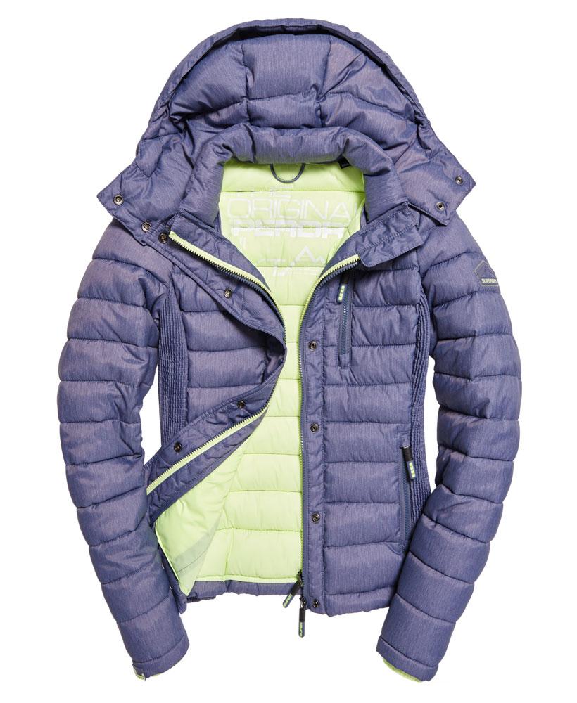 New Womens Superdry Slim Fuji Double Zip Hooded Jacket
