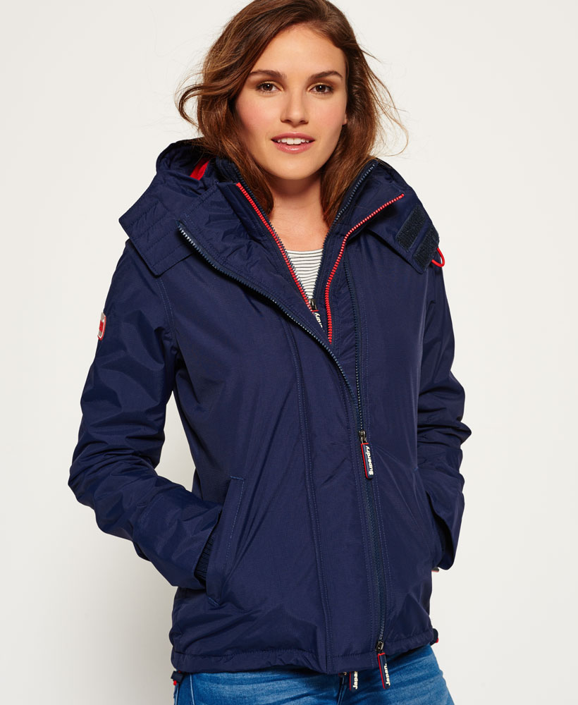 Superdry: New Womens Superdry Pop Zip Hooded Arctic SD-Windcheater