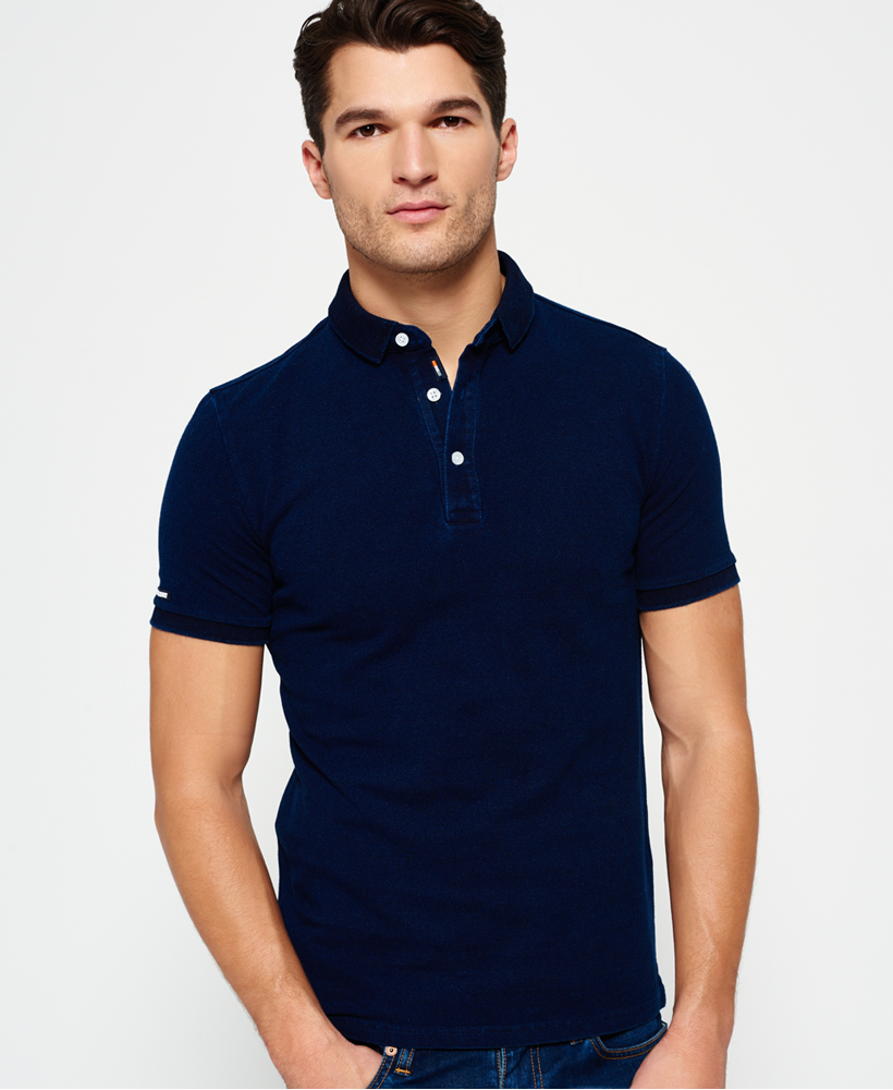 Sentinel New Mens Superdry Indigo City Polo Shirt Dark Indigo