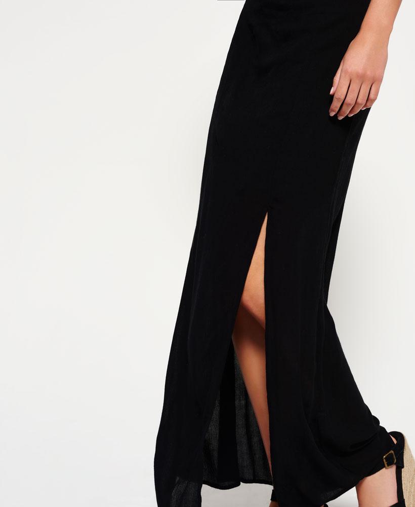 jupe longue fendue eivissa pour femme noir ebay. Black Bedroom Furniture Sets. Home Design Ideas