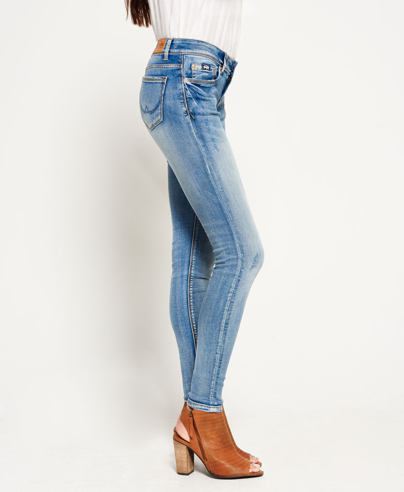 Details about New Womens Superdry Cassie Skinny Jeans Luna Blue