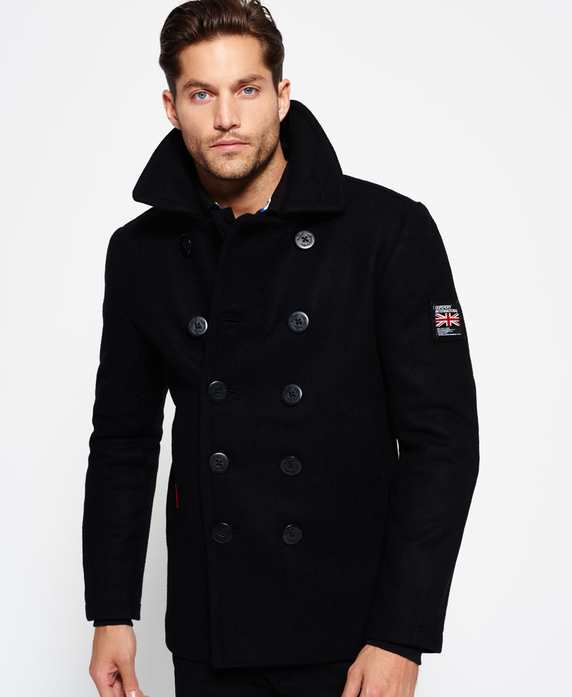 New Mens Superdry Rookie Pea Coat Black | eBay