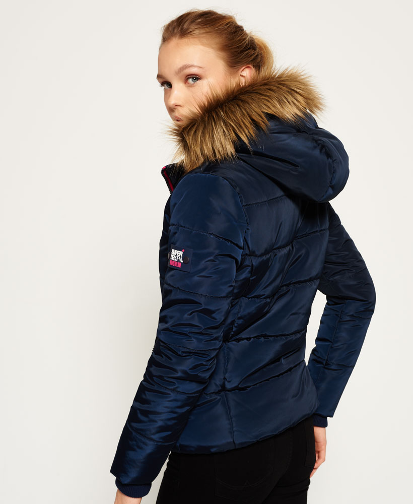Ladies navy puffer jacket with fur hood