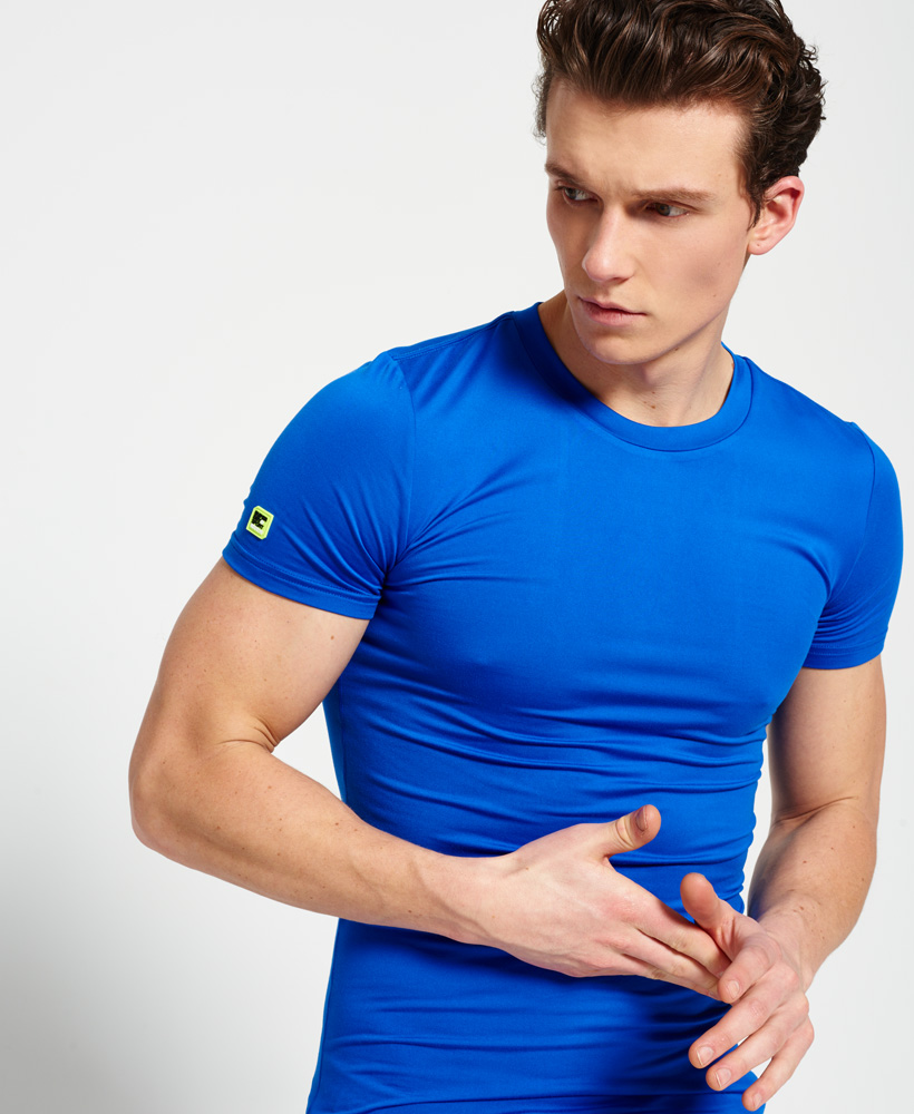 brand new bae5b 65479 Details about New Mens Superdry Sports Athletic Panel T-Shirt Cobalt