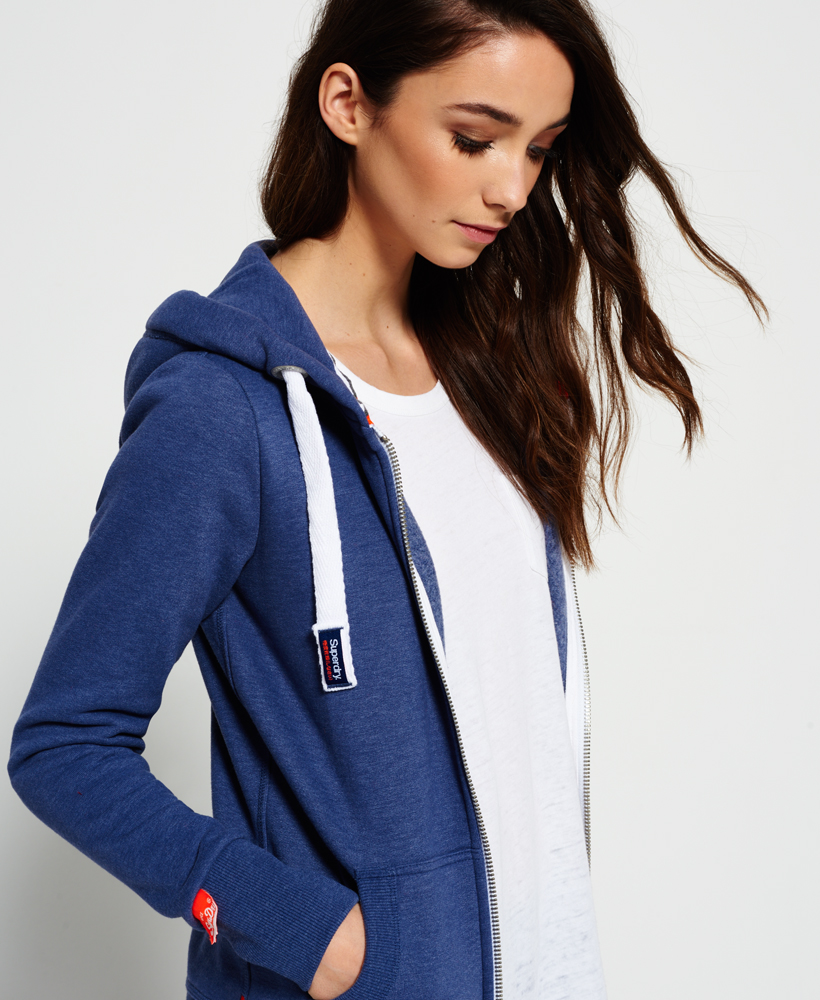636afcd86c537 Details about New Womens Superdry Orange Label Primary Zip Hoodie Dusk Blue  Marl