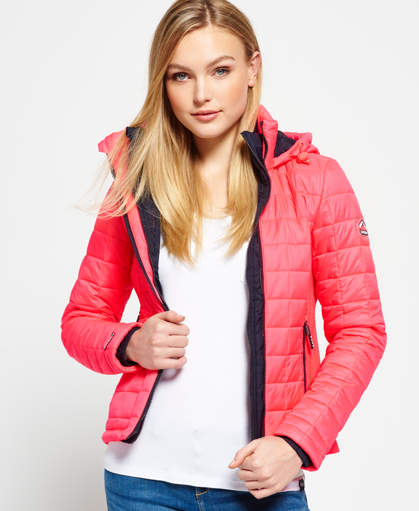 New Womens Superdry Hooded Box Quilted Fuji Jacket