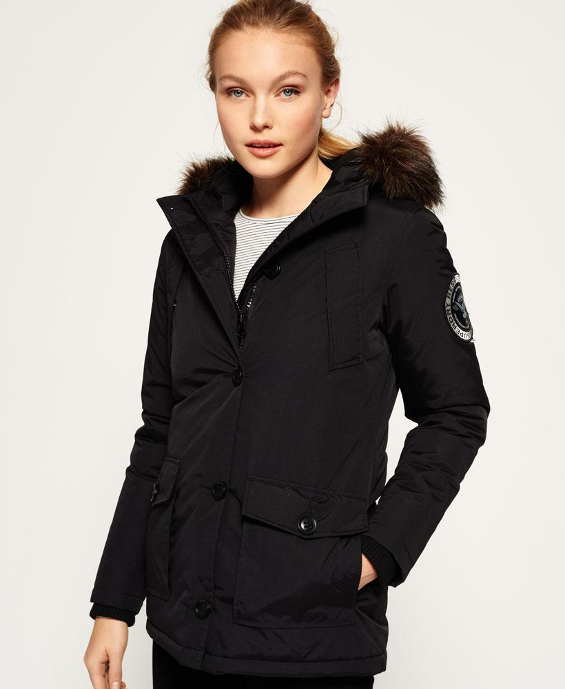 new product 981e9 5574f Details zu Neue Damen Superdry Everest Parka Schwarz