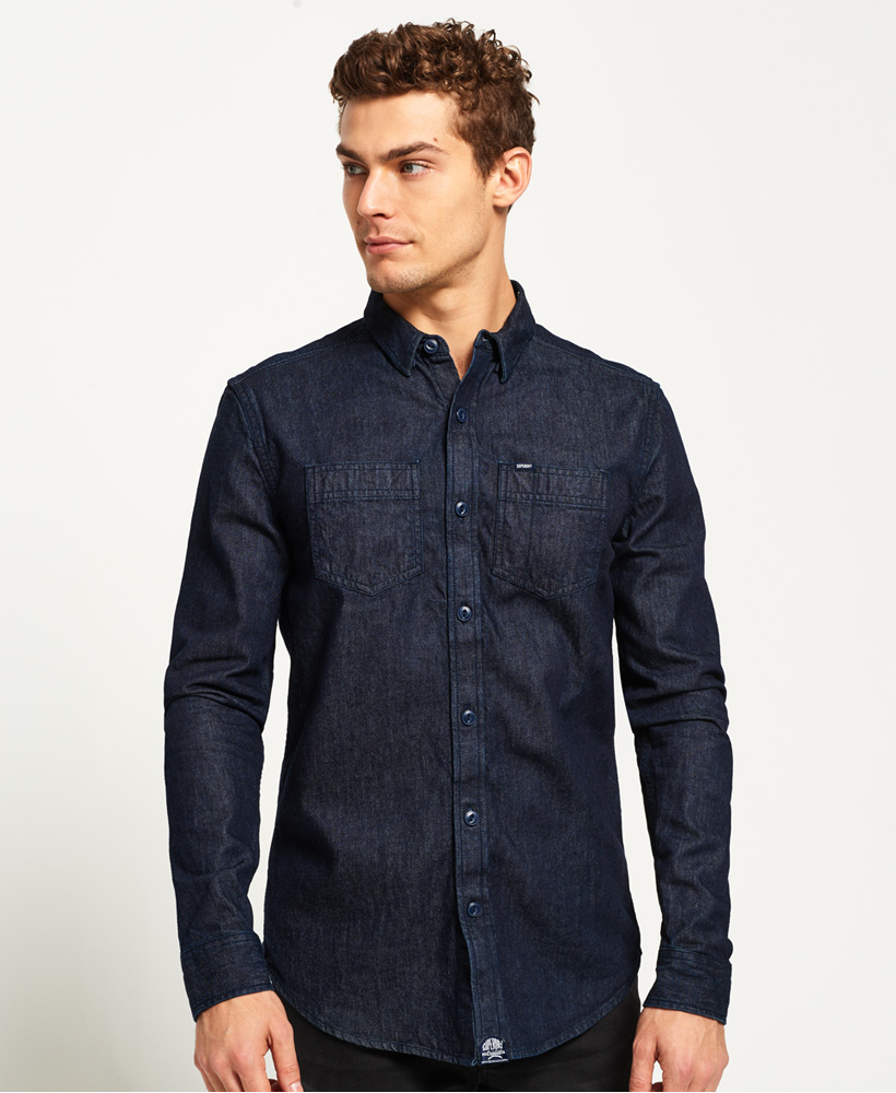 New Mens Superdry Rookie Loom Riveter Shirt Raw Denim