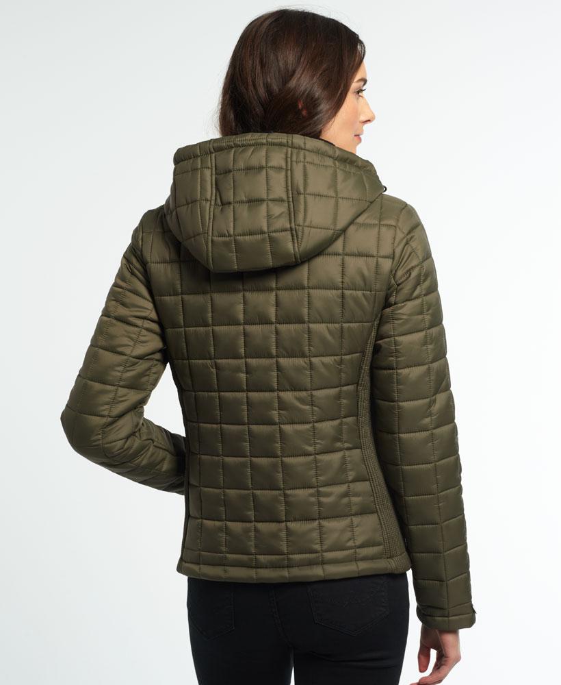 Neue Damen Superdry Hooded Box Quilt Fuji Jacke Khaki Ebay