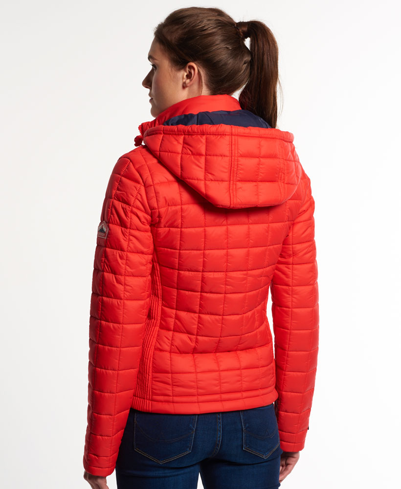 New Womens Superdry Hooded Box Quilt Fuji Jacket Bright