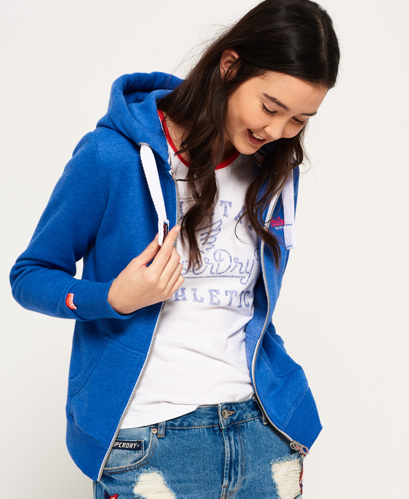 buy online 2146f 38faa Details zu Neuer Damen Superdry Orange Label Primary Zip Kapuzenjacke  Boardwalk Blau Melier