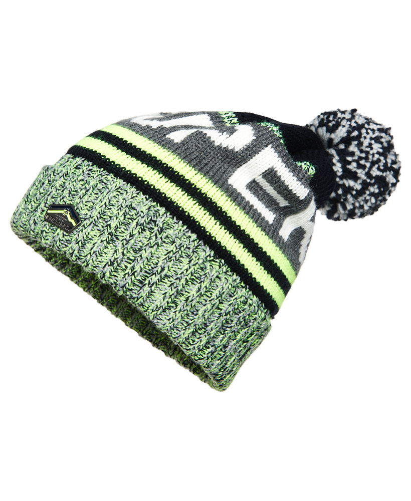 52c4344c2 Details about New Mens Superdry Redford Logo Beanie Fluro Lime Mix