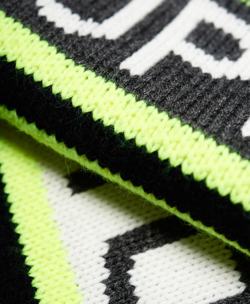 c06befaee Details about New Mens Superdry Redford Logo Scarf Fluro Lime Mix