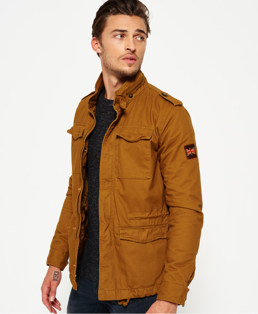 New Mens Superdry Winter Field Jacket Tobacco