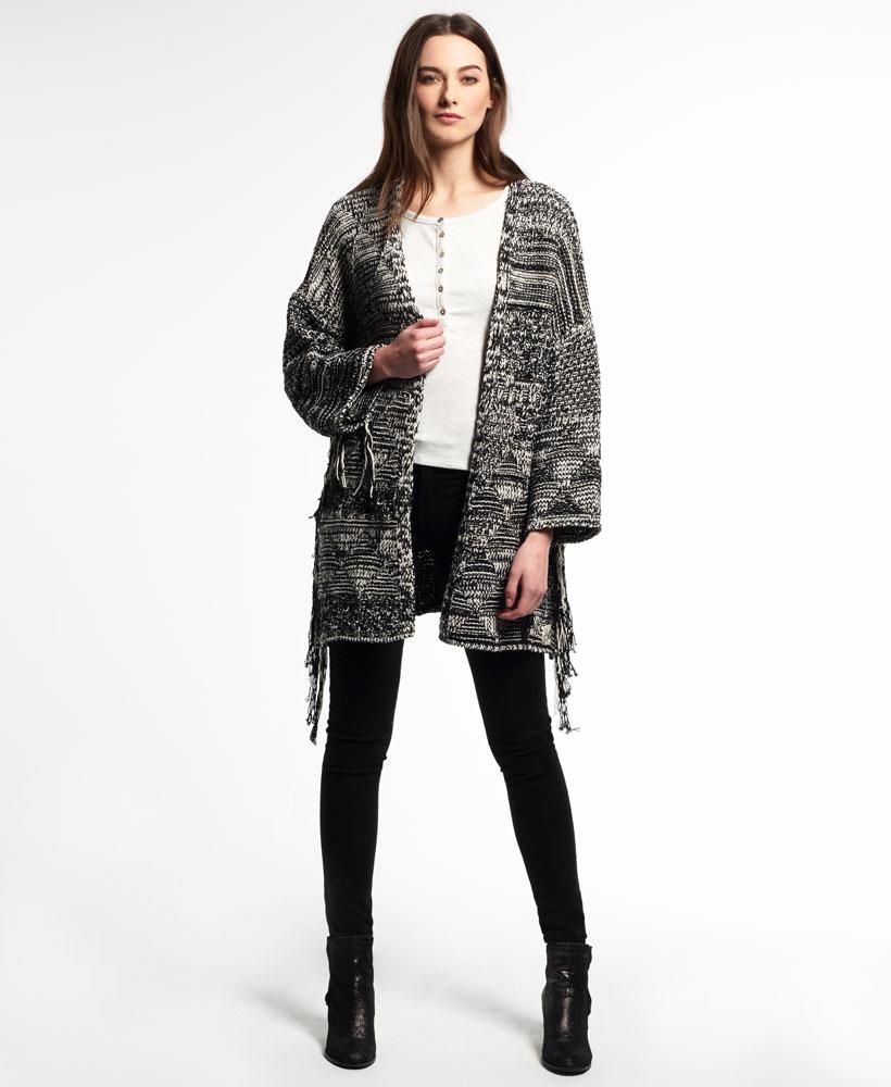 3dbe7e06f4 Sentinel New Womens Tassel Nomad Kimono Top Monochrome Twist