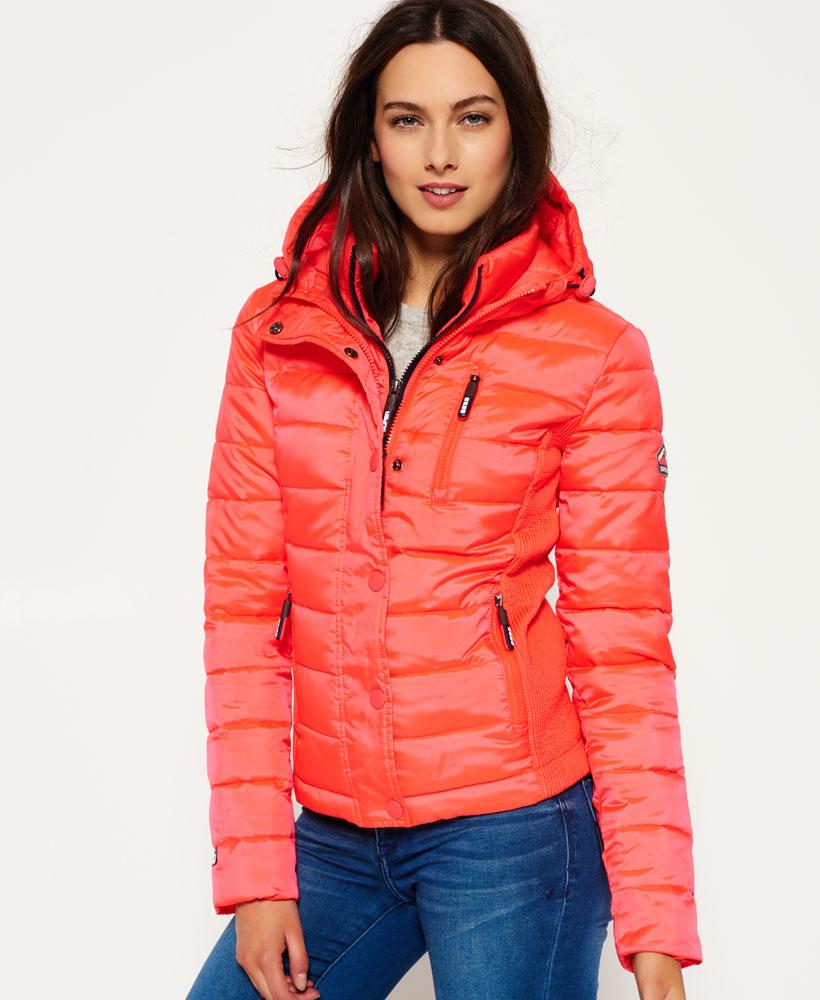 Sentinel New Womens Superdry Hooded Fuji Slim Double Zip Jacket Fluro Cherry