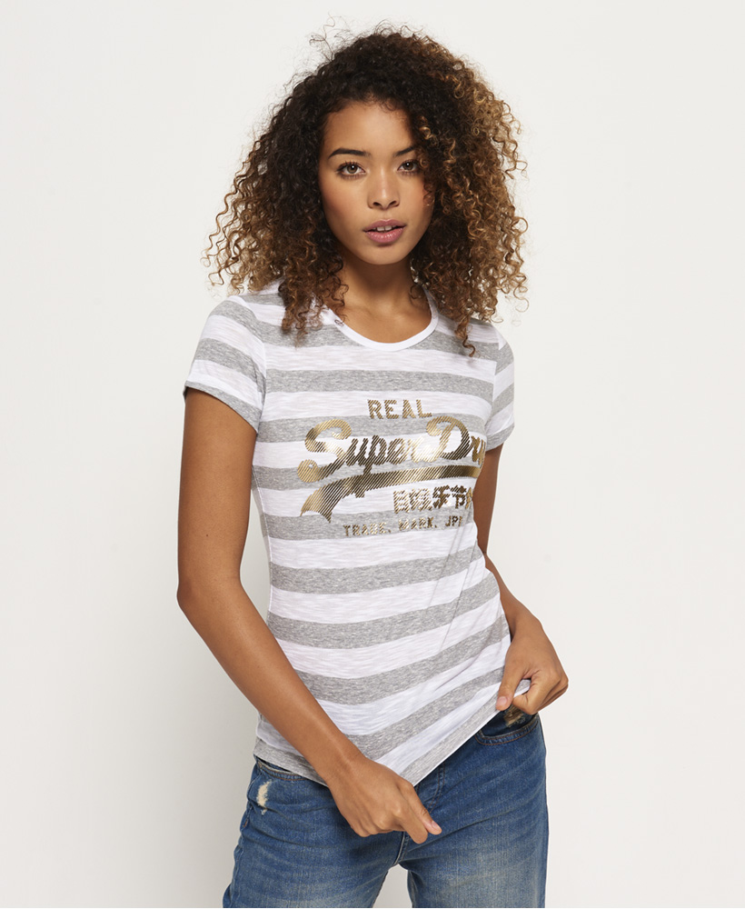 6259038cd5 Sentinel New Womens Superdry Vintage Logo Stripe T-Shirt Foxglove White