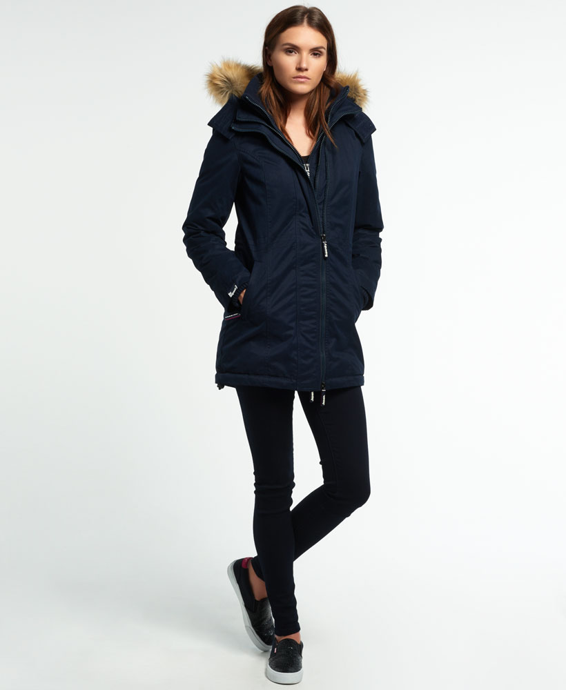 Sentinel New Womens Superdry Microfibre Tall Windparka Jacket Navy