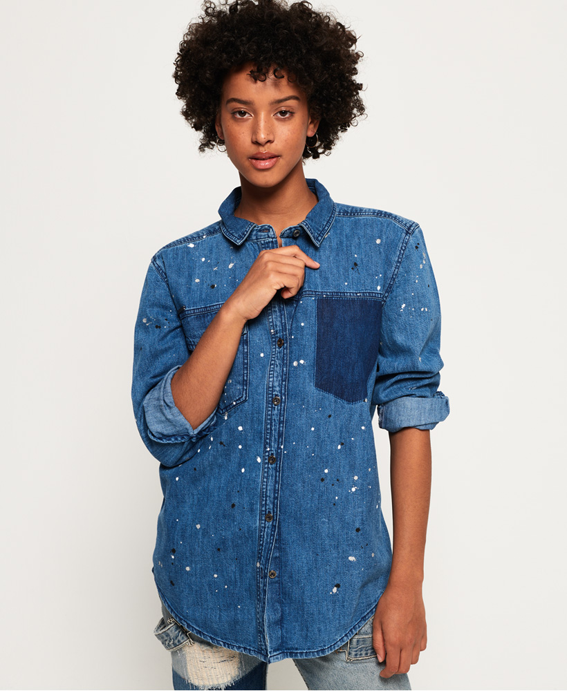 4da43b4f6895be Sentinel Thumbnail 1. Sentinel New Womens Superdry Oversized Denim Shirt  Pacific Splatter