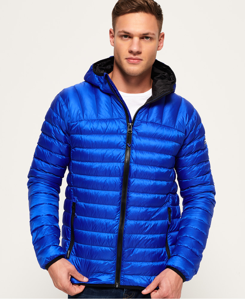 532c43a9 Details about New Mens Superdry Core Down Hooded Jacket Cobalt