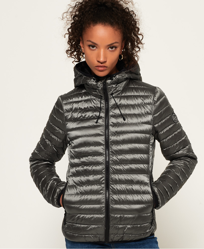purchase cheap ca922 b8367 Details about New Womens Superdry Core Down Hooded Jacket Quartz Grey