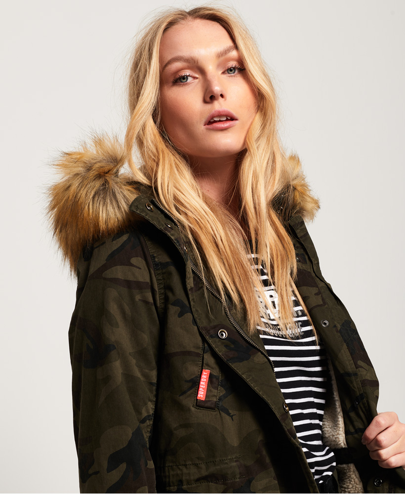 703a6f02a18fe Sentinel New Womens Superdry Classic Rookie Fishtail Parka Coat Camo