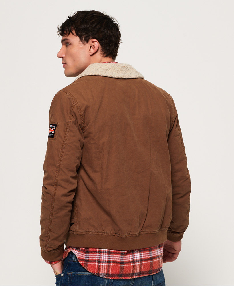 d24cdd3fe4b Details about New Mens Superdry Rookie Winter Aviator Bomber Jacket Rusty  Gold