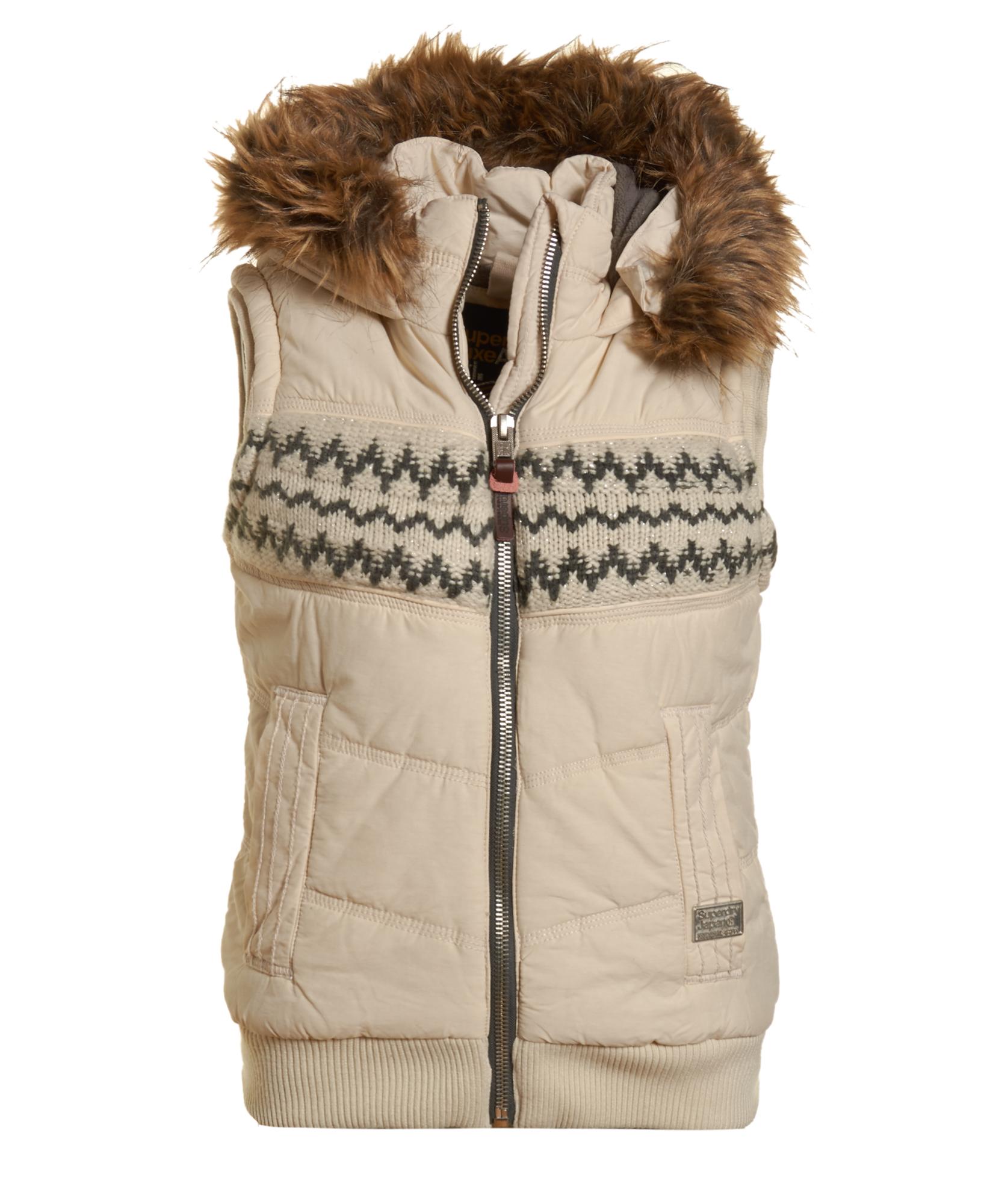 best service ab9ff cc33b Details zu Neue Damen Superdry Jacke Apres Weste Vintage Weiß