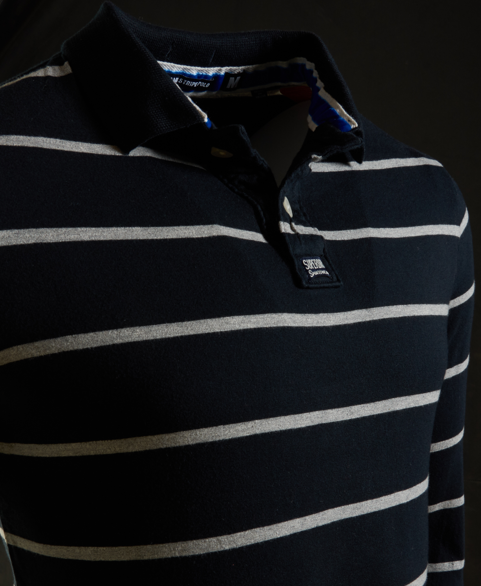 56db7a209 Sentinel New Mens Superdry Miami Stripe Polo Shirt Navy