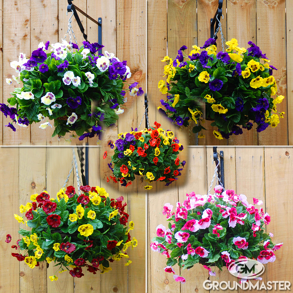 decorative 30cm artificial pansy ball flower hanging baskets in various colours ebay. Black Bedroom Furniture Sets. Home Design Ideas