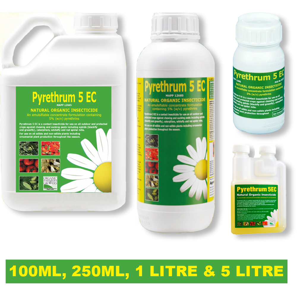 1 x Pyrethrum 5EC Organic Natural Insect Pest Plant Spray Crops In