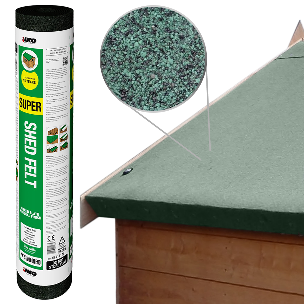 Iko Super Shed Felt Green 8m X 1m Garden Roofing Felt
