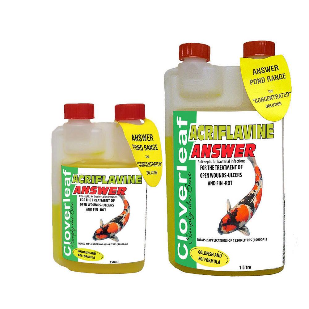 Cloverleaf acriflavine answer pond water treatment ulcer for Koi pond treatment