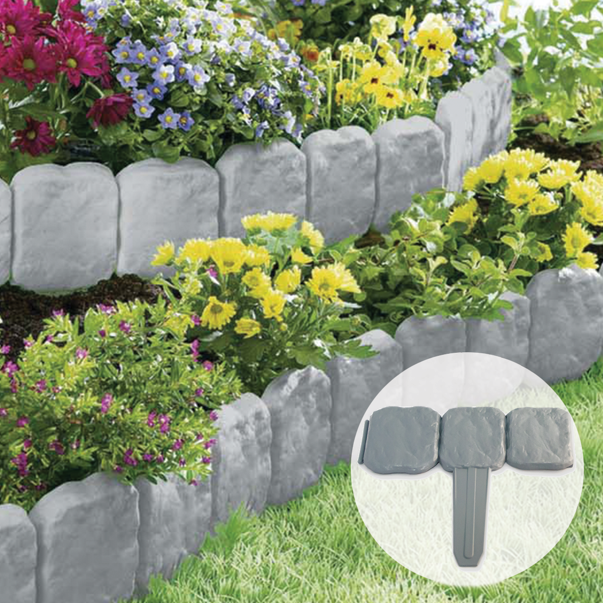 grey stone slab effect garden border plastic edging flower bed grass