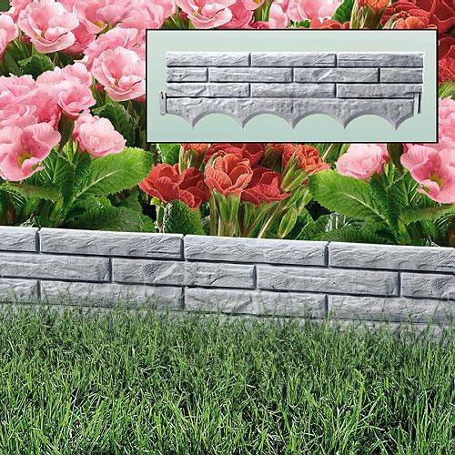 Grey Brick Wall Garden Border Plastic Lawn Edging Flower