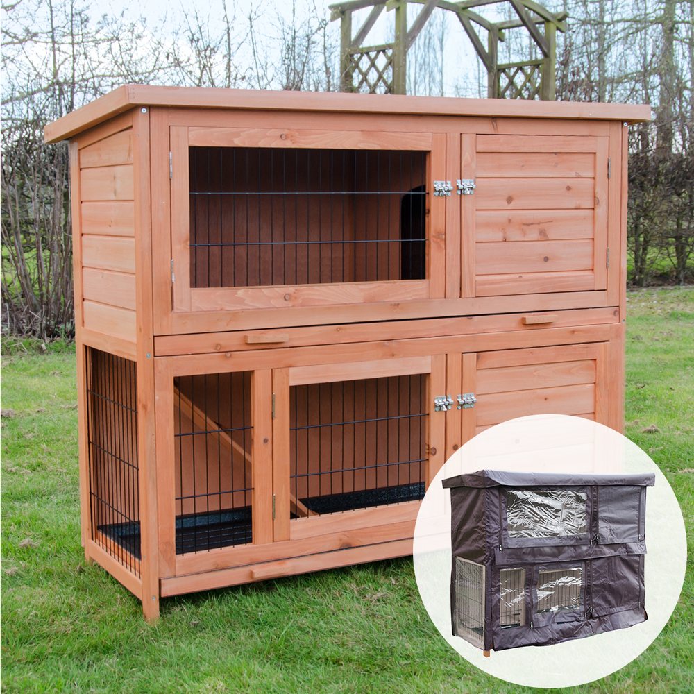 Thumbnail 1 ... - 4ft Milan Double Rabbit Hutch With Enclosed Run & Cover