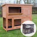 4ft Milan Double Rabbit Hutch with Enclosed Run & Cover