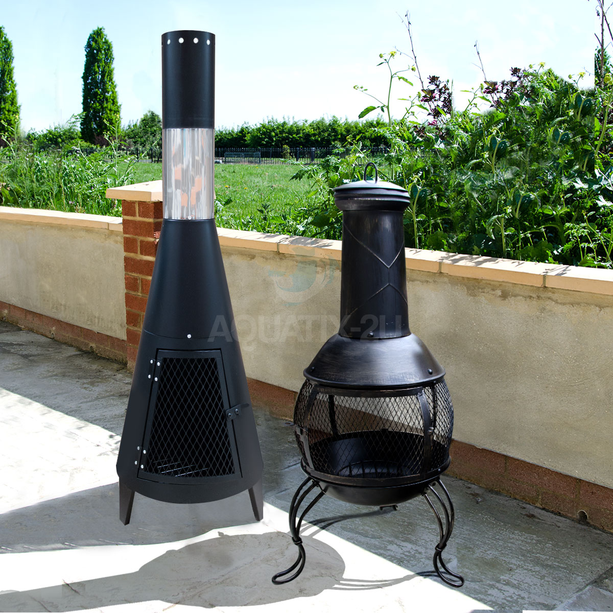 Sentinel OUTDOOR CHIMINEA GARDEN PATIO LOG BURNER WOOD FIRE HEATER WITH  CHIMNEY