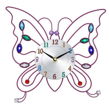 Kids Pink Butterfly Jewel Clock