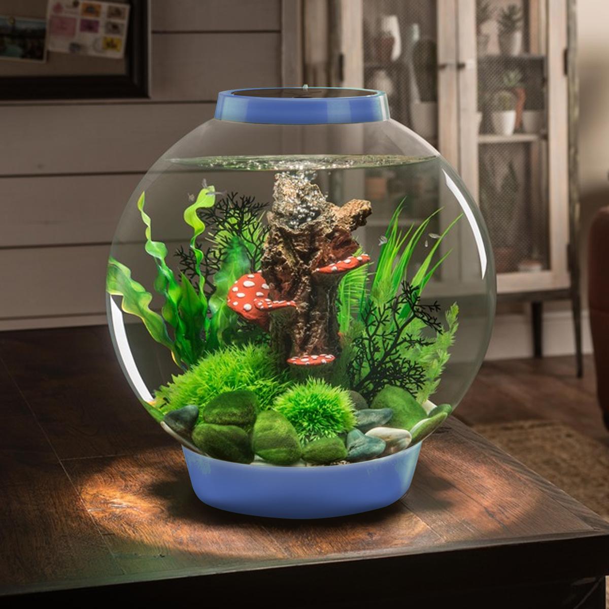 Biorb classic 30l denim blue aquarium led lighting acrylic for Fish tank bowl